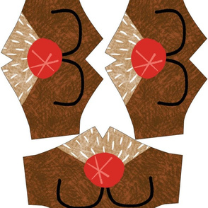 Holiday Adult Size Fitted Face Masks Rudolph Reindeer