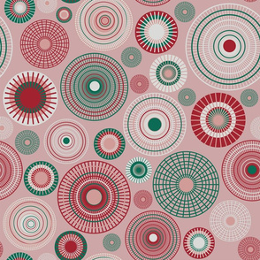 large concentric circles mauve green