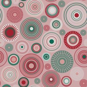 small concentric circles pink green