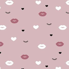 Little flirt kisses and eye lashes valentine love hearts design mauve vintage pink