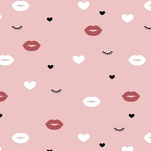 Little flirt kisses and eye lashes valentine love hearts design moody pink