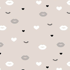 Little flirt kisses and eye lashes valentine love hearts design sand beige gray
