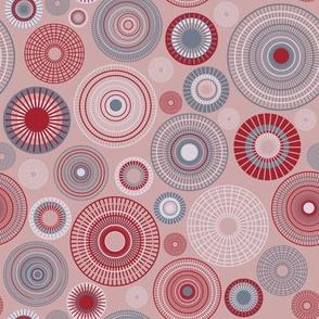 small concentric circles mauve slate