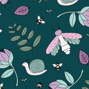 Little insects bugs night moth and bees botanical garden leaves kids design blue lilac green girls