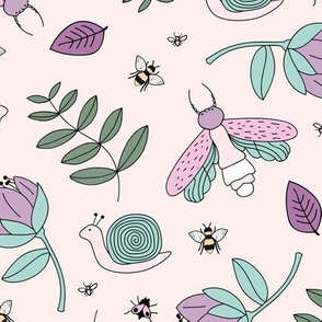 Little insects bugs night moth and bees botanical garden leaves kids design pale peach blush lilac green girls