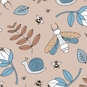 Little insects bugs night moth and bees botanical garden leaves kids design soft sand beige blue boys