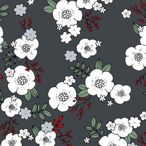 Romantic Christmas garden liberty flowers design boho nursery night gray red green