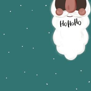 Weihnachtsmannbart in Grün mit HoHoHo für Loopschaal schwarz von DIY Eule