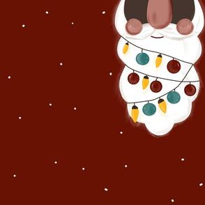 Weihnachtsmannbart in Rot mit Lichterkette für Loopschal schwarz von DIY Eule