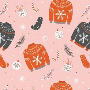 Christmas sweater pattern pink