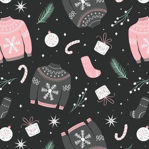 Christmas sweater pattern gray dark