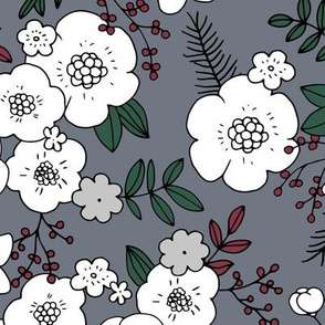 Christmas pine tree garden and blossom garden liberty flowers design boho nursery cool gray red green LARGE