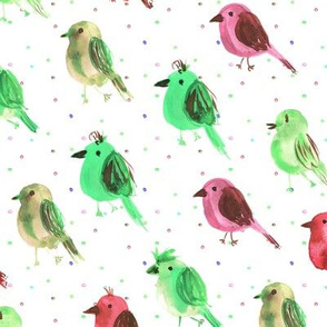 Green and burgundy birdies running to the concert - watercolor bird cute pattern for nursery home decor bedding