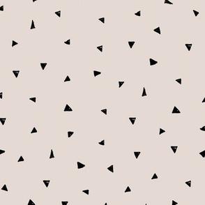 Little triangle confetti minimalist geometric Scandinavian modern trend nursery soft sand beige black