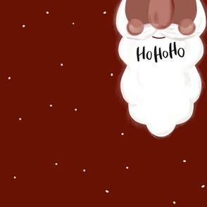 Weihnachtsmannbart in Rot mit Hohoho für Loopschal Braun von DIY Eule