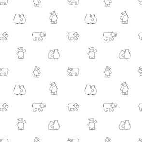 Black white outline hippo repeat pattern. Hippopotamus stands, sits, gives a hug to female hippo, walks, looks to somewhere