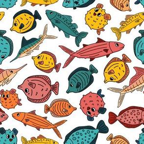 Pink yellow blue outline cartoon vector fish, tang, flounder, tuna, ocean burrfish, sea marlin