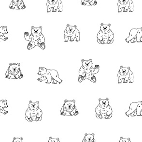 fluffy black white bear that walks and sits in different poses