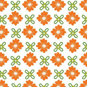 Retro flowers on white