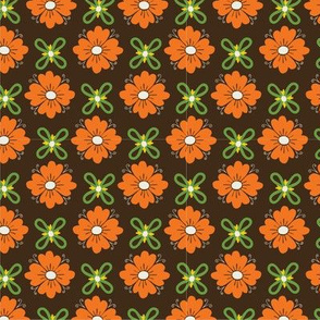 Retro flowers on brown