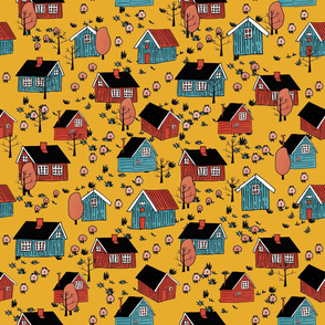 Yellow, pink, blue scandinavian wooden houses with sheep