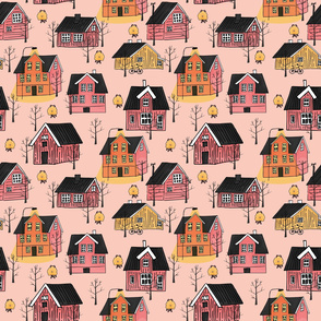 Yellow, pink scandinavian wooden houses