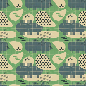 Abstract pastel avocado Seamless pattern of beige, green, blue colors