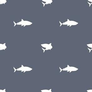Blue silhouette shark world