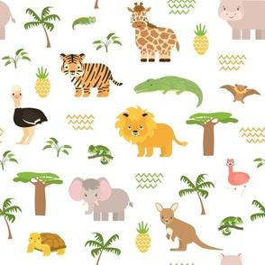 Safari summer animals seamless pattern.
