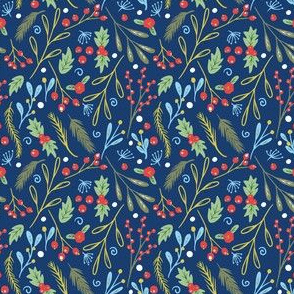 Christmas Berries and branches navy