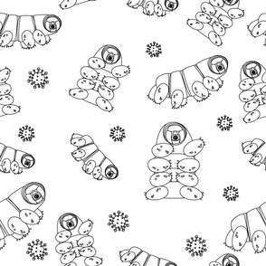 cute happy Tardigrade, water bears or moss piglets repeat seamless pattern on white background