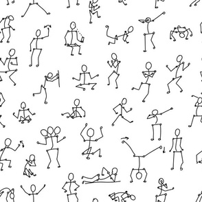 white black line seamless pattern with people bodies in different poses on white background