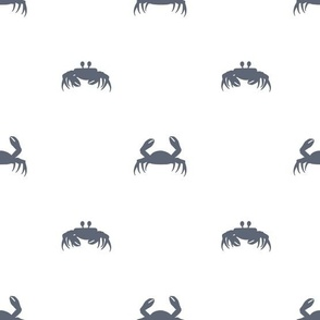 Blue crabs silhouettes on white background