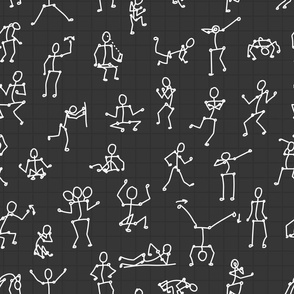black white line seamless pattern with people bodies in different poses on white background
