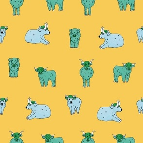 Big Yellow seamless pattern of hand drawn small and big highland blue cows, which are sitting, standing, lying on the ground