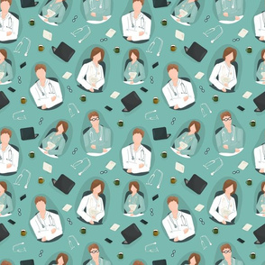 Doctors, medical workers in green or white clothes