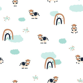 Cute spotted cow farm cartoon animal seamless pattern on white background with rainbows and clouds