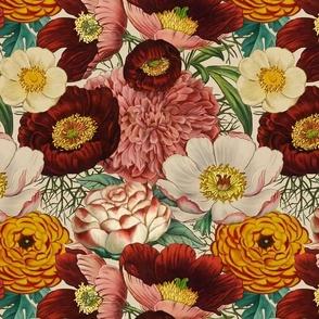 VINTAGE BOTANICAL FLOWERS fat quarter