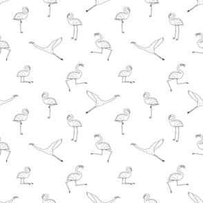 Doodle flamingos pattern isolated on white background