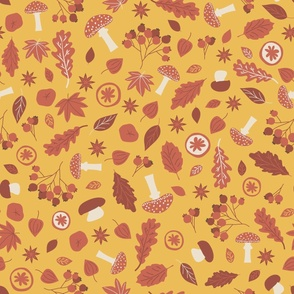 Red yellow forest elements seamless pattern