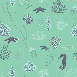 Cute jellyfish, starfish, seahorse, algae, corals, underwater bubbles seamless pattern