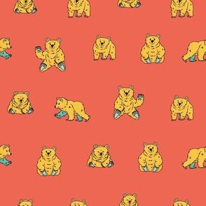 Big Hand drawn cute fluffy yellow blue bear that walks and sits