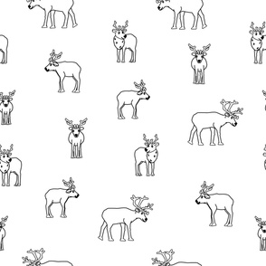 Black and white Deers and caribou seamless repeat pattern