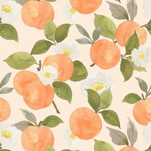 Peaches and blossoms on peach