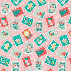 Retro Christmas Postage Stamps_50Size