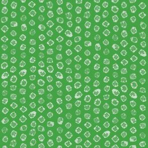 Shibori kanoko white dots over green