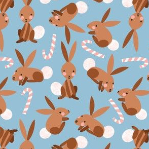 Bunnies and Candy Canes on Light Blue