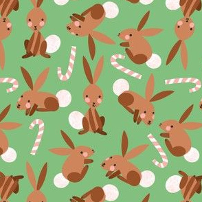 Bunnies and Candy Canes on Grassy Green