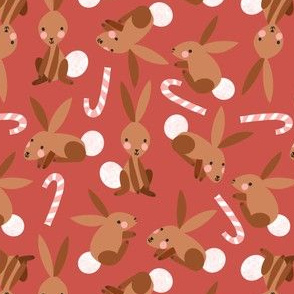 Bunnies and Candy Canes on Red