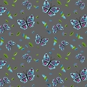 Butterflies Dancing in the Leaves Grey